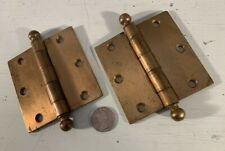 """Pair antique removeable ball tip 3 1/2"""" door hinges bronze finish on steel Hager"""