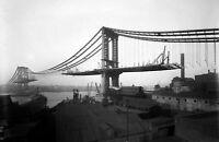 "1909 Manhattan Bridge Under Construction Vintage Old Photo 8.5"" x 11"" Reprint"