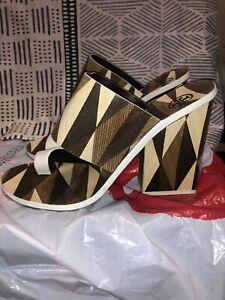 women's tory burch kempner heeled slide sandal ivory size 9 1/2
