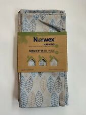 "Norwex Set of 4 Napkins Leaf Pattern with BACLOCK 17"" X 12.5 Brand New MSRP $30"