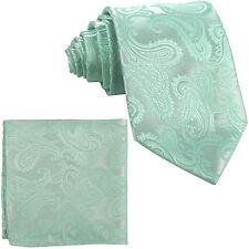 Men's Aqua Mint Green Necktie and Pocket Square Hankie Set Formal Wedding 600-HH