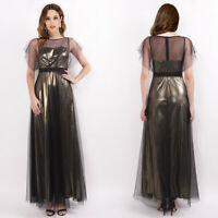 Women Plus Size Short Sleeve Formal Evening Party Dress Prom Maxi Dress 07636
