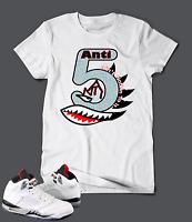 Anti T-shirt to match Retro Jordan 5 White Cement 5s Unisex Sizes S-7xl Pro Club