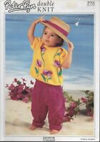 Wendy  Peter Pan Knitting Pattern P701 'Floral Sweater 12 to 22 inch chest
