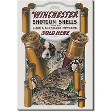 Winchester Rifles Shotgun Shells Ammunition Ammo Hunt Dog & Quail Metal Tin SIgn