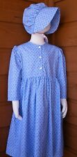Girl Prairie Pioneer Old Fashioned Costume Dress & Bonnet Set Lt Blue Calico 5