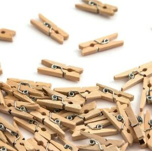 60 Mini Wooden Pegs 25mm Craft Wedding Hanging Photo Pegs Small Tiny Spring Clip