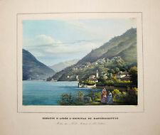 C1850 Lago di Como Comer See Albumine-gehöhte colore AQUATINTA