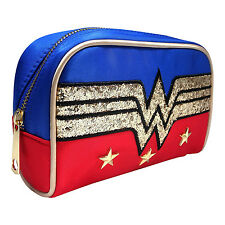Official DC Comics Wonder Woman Glitter Logo Satin Make-Up Bag - Retro Red Blue