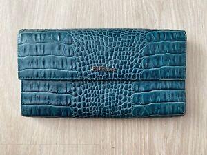 FURLA Logo Croc Embossed Print Green Leather Bifold Flap Long Wallet Purse