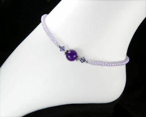 Amethyst Anklet with Sterling Silver & Swarovski Crystal - Sterling Silver Clasp