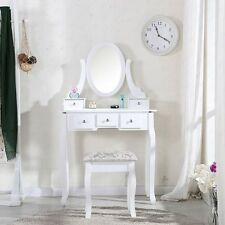 White Dressing Table and Chair Makeup Desk with Stool 5 Drawers and Oval Mirror