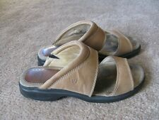 Women's Ariat beige leather  slide on sandal side 8.5 B