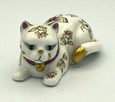 Franklin Mint Curio Cabinet Porcelain Collection Satsuma Cat Figure - Butterfly