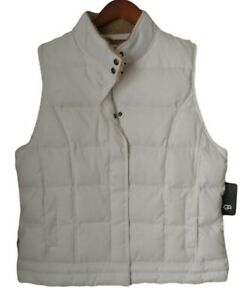 UGG Australia Down Puffer Vest Women's Ivory Quilted Sherpa Collar NEW Tags $225