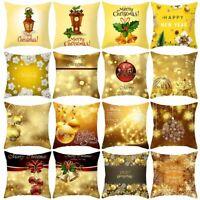 Christmas Pillow Case Glitter Polyester Sofa Throw Cushion Cover Home Decor E
