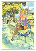 Ex-libris MEYNET BD Pin up Paris Notre Dame signé format A4