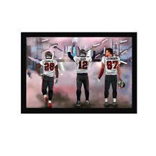 Tom Brady, Leonard Fournette, Rob Gronkowski  Art Wood Framed Picture Print