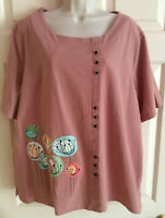 Women's Short Sleeve Artsy Dusty Rose Pullover Cotton Shirt Top ~ Size 3X