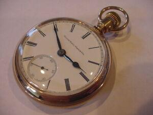 18-size 1889 ELGIN 14k GOLD FILLED MODEL 5 No RESERVE - 131 YEAR OLD ANTIQUE!