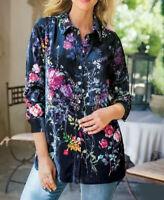 Soft Surroundings Jardim Velvet Floral Button Down Blouse / Shirt Med. Tunic Top