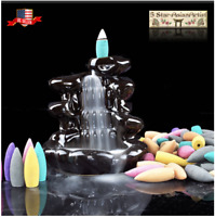 Ceramic Backflow Incense Cones Burner Mountain Waterfall 097 & 10pcs Cones Gift