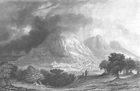 Israel, WEST BANK SHECHEM NABLUS MOUNT GERIZIM ~ Old 1834 Art Print Engraving