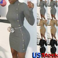US Women's Knit Long Sleeve Sweater Dress Ladies Sexy Bodycon Party Mini Dress