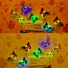 Glowing LED 3D Butterfly Wall Stickers Light Art Decal Lamp Home Kids Room Decor