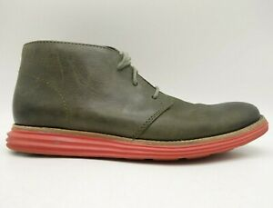 Cole Haan Lunargrand Green Leather Lace Up Chukka Ankle Boots Men's 8 M