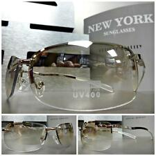 CONTEMPORARY MODERN CLUB RAVE COOL FASHION SUN GLASSES Silver Frame Clear Lens