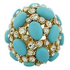 18K Yellow Gold Plated Bronze Blue Gemstones Large Cluster Cocktail Ring