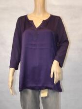 ★ GINA LAURA ★  M 40/42 lila  Schlupfbluse Longsleeve Shirt  3/4-arm Materialmix