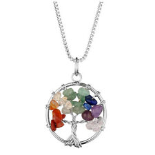 Gemstone Chakra Three Of Life Pendant 7Color Silver Chain Gift Jewelry Womens
