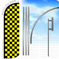 Black Yellow Checkered - Windless Swooper Flag Kit Banner Sign - q
