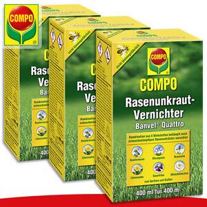 COMPO 3 x 400 ml Rasenunkraut-Vernichter Banvel® Quattro Gundermann Löwenzahn