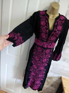 MONSOON ● size 12 ● black fuchsia purple embroidered dress womens ladies
