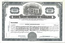 "Union Trust Company Of Maryland.""Specimen&# 034; Common Stock Certificate"
