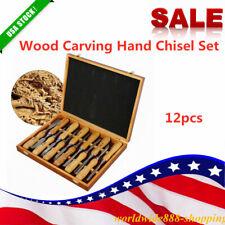12Pcs Woodworking Wood Carving Hand Chisel Wood Firmer Gouge Set Tools