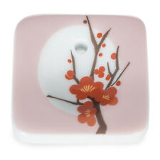 Hanga Plum Porcelain Japanese Incense Stick Holder Burner from Kousaido
