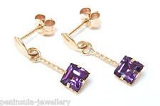 9ct Gold Square Amethyst Drop Earrings Made in UK Gift Boxed