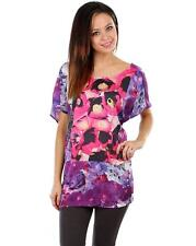 Women Purple Blouse Tunic Top with Floral Pattern - Size 3X