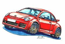Rouge Nouveau Style VW Beetle Cross Stitch Chart, BN! GRATUIT UK POSTE