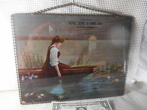 """Antique 1901 ADVERTISING Flue Cover LADY in ROWBOAT 9x12"""" GLASCO Kansas Chain Fr"""