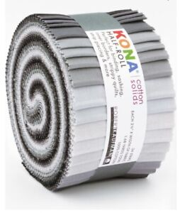 KONA Cotton Fabric Roll (24 Pieces), KONA Cotton Jelly Roll - Stormy Skies Grays
