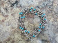 """MICHAEL DAWKINS  TURQUOISE BEAD STERLING SILVER NECKLACE 36"""""""