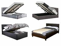 3FT 4FT 4FT6 5FT FABRIC OTTOMAN BED OR CRUSHED VELVET & FAUX LEATHER NON STORAGE