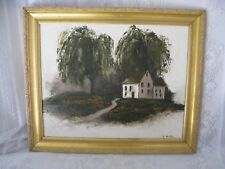 Antique Painting Oil on Canvas - Farm House Under Old Tree - Signed K. Gentile