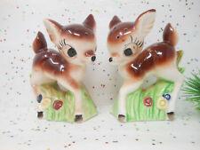 Vintage Reindeer Fawn Christmas Big Eye Bambi Japan Ceramic Salt Pepper Set
