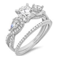 2.0 ct Round Cut Bridal Engagement Wedding Ring Band Set 14k Solid White Gold